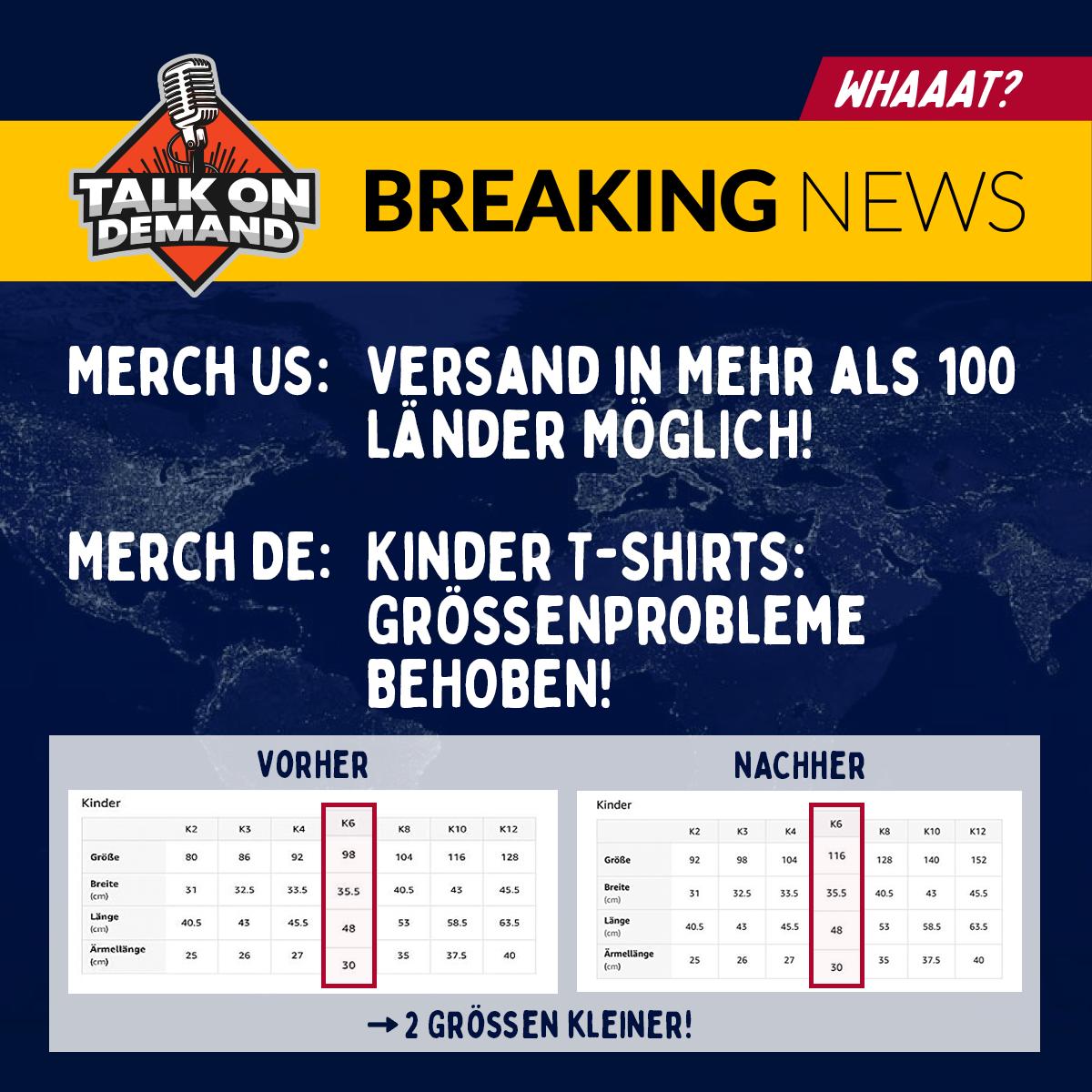 Breaking News: Merch by Amazon USA versendet in mehr als 100 Länder und Merch DE behebt die Probleme mit den Größen der Kinder T-Shirts!