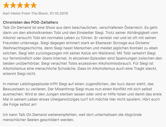 Talk on Demand Podcast Rezension bei ITunes